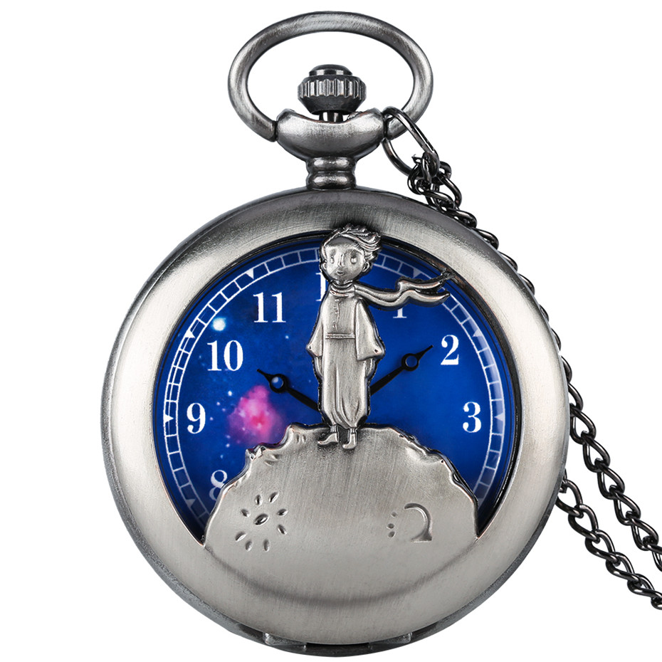 Hot Item The Little Prince Retro Grey/Bronze Necklace Pocket Watch Quartz Best Birthday Jewelry Clock Gifts For Men Women Kids