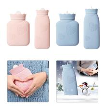Cartoon Warm Water Bottle Silicone Microwave Heating Hot Water Bottle Knitted Cover Bag Washable Household Warm Items