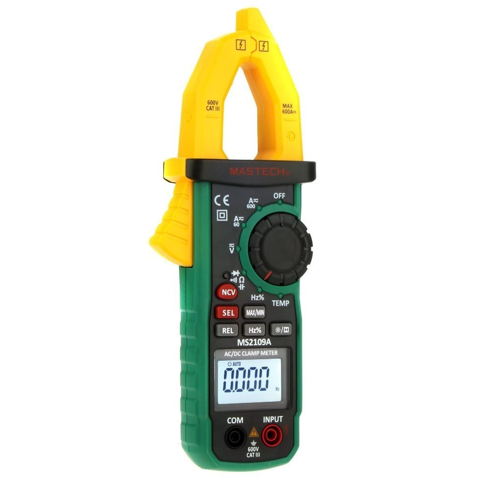 Mastech Ms2109a Auto Range Digital Ac Dc Current Clamp Meter Multimeter Hz Temp Capacitance Tester With Ncv Detector