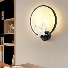 Black White Modern LED Wall Bedside Lights 3 Dimmer Creative Angle Iron Round Bracket Lamp Light