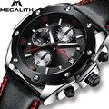 MEGALITH хронограф мужские часы военные спортивные водонепроницаемые кварцевые наручные часы для мужчин черные кожаные аналоговые часы Reloj ...