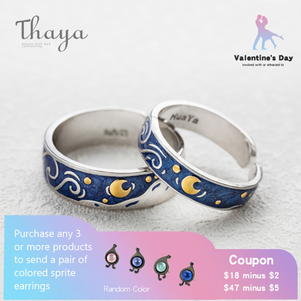 Thaya Van Gogh's Enamel Couple Rings Sky Star Moon S925 Silver Glitter Rings Engagement Ring Marriage ceremony Jewellery For Girls
