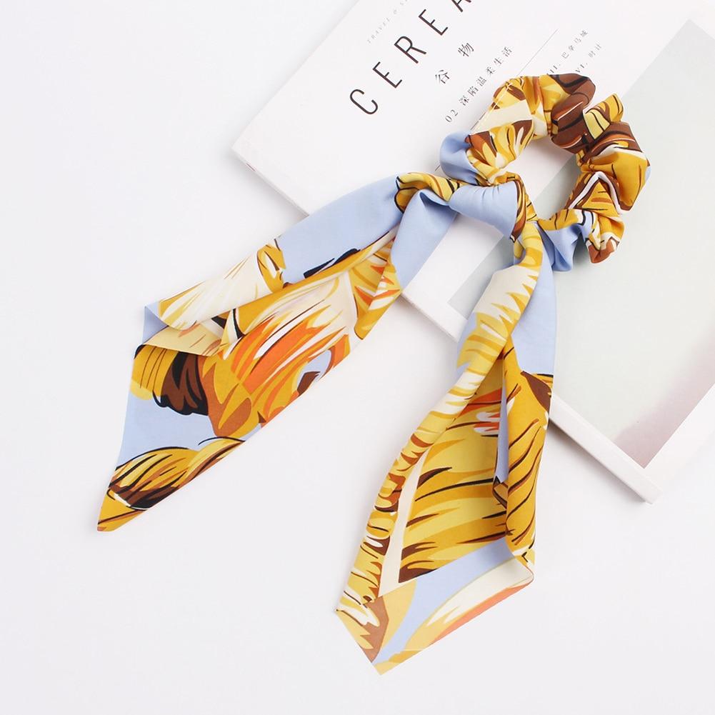 Elegant Floral Leopard Streamers Bow Hair Ties For Girls Women Hair Scarf Scrunchies Elastic Hair Ribbon Bands Hair Accessories