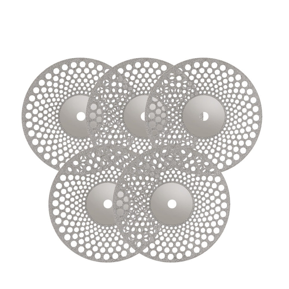 5pcs Dental Thin Ultra-thin Double Sided Sand Diamond Cutting Disc With Mandrel For Separating Polish Ceramic Teeth Whitening