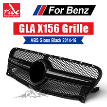For Benz GLA-X156 Front Grille Gloss Black ABS GLA-Class GLA180 GLA200 GLA250 without central logo Front Racing Grille 2014-2016 for mercedes benz gla x156 front grille silver abs gla45 amg gla180 gla200 gla250 without central logo front racing grille 14 16