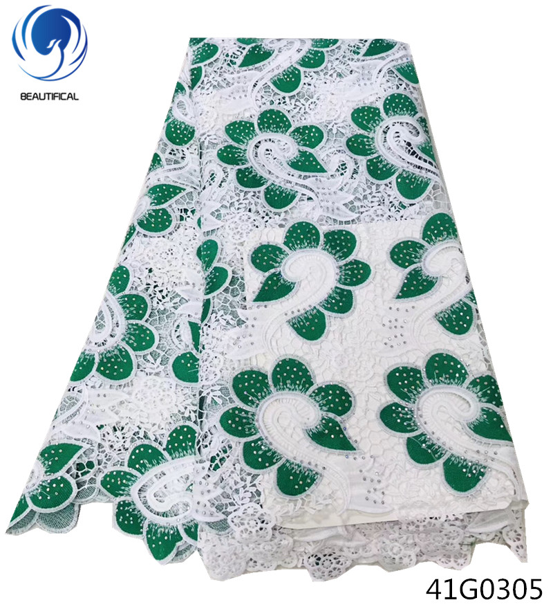 Beautifical cord lace fabric 5yards green guipure latest 2018 water soluble design african 41G03