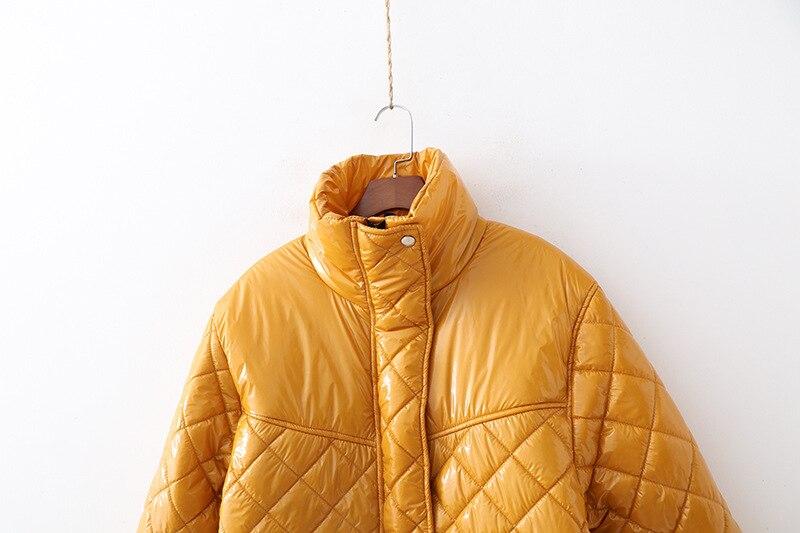 À Manches Manteau Lâche Solide Hiver Femme Rembourré Vêtements Harajuku Longues Mooirue Automne Veste Parka Yellow Coton Jaune q17TP