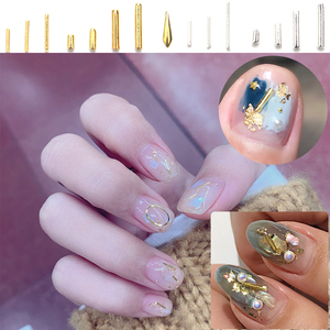 100 Pcs/Lot Gold Bar Metal Rivet Japanese 15 Rivet Metal Alloy 3D DIY Nail Adornment Nail Ornaments