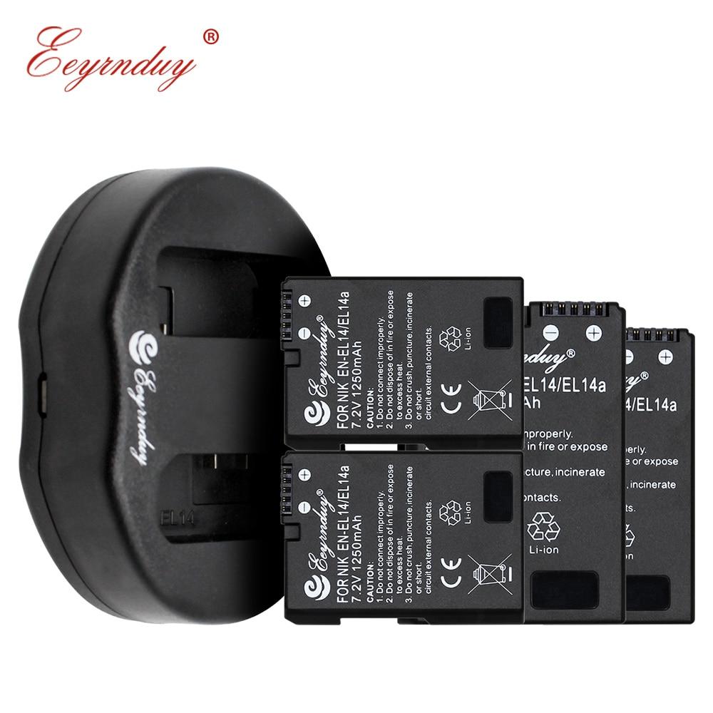 Batterie d'appareil photo numérique 4 pièces EN-EL14A EN EL14 et 1 chargeur pour Nikon d5500 d3100 d3200 d3300