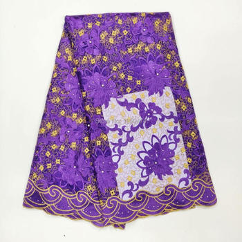 Purple Beaded And Stones African Laces Fabrics Embroidered African French Lace Fabric Cheap African French Net tulle Lace Fabric