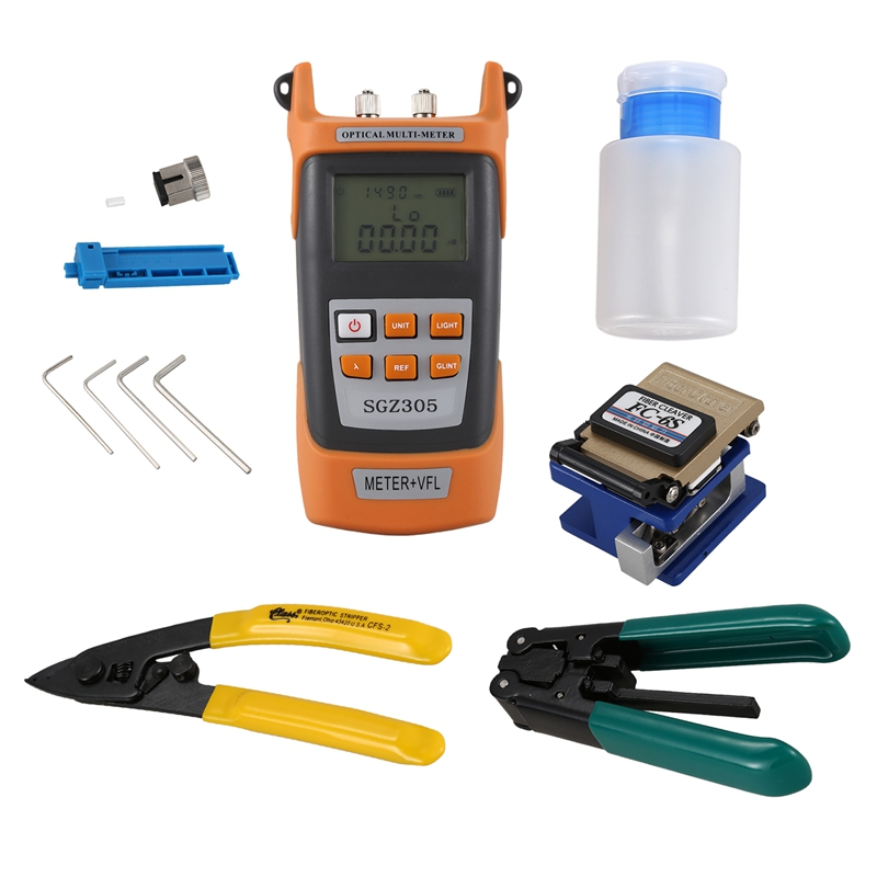 Fiber Optic FTTH Tool Kit With FC-6S Fiber Cleaver And Optical Power Meter 5km Visual Fault Locator 1mw Wire StripperFiber Optic FTTH Tool Kit With FC-6S Fiber Cleaver And Optical Power Meter 5km Visual Fault Locator 1mw Wire Stripper