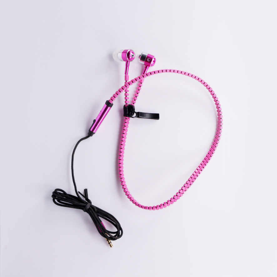 zipper earphone 3.5mm in-ear earphones with microphone cremallera headset head phone for iphone wired earphone for phone
