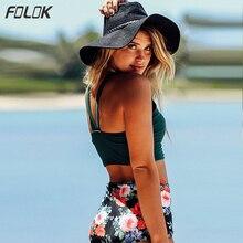 цена на Bikini 2019 Floral Print Swimsuit Padded Swimwear High Waist Retro Bathing Suit Women Biquins Feminino Beachwear