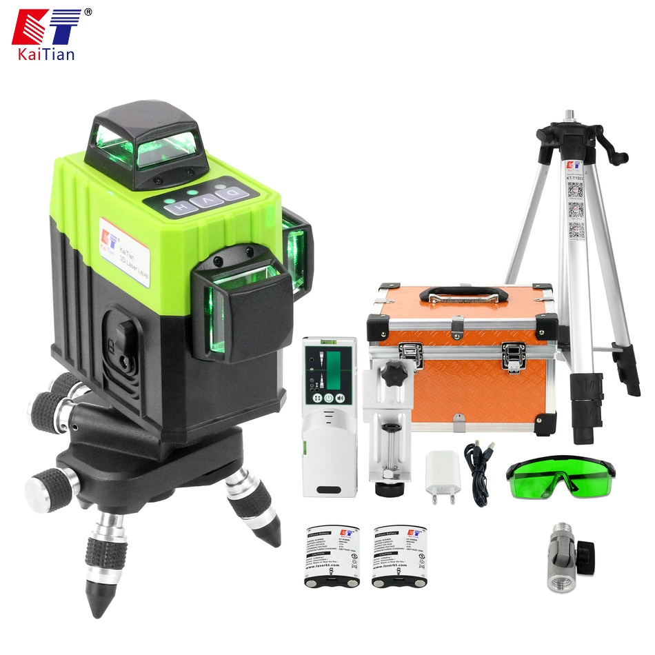 KaiTian 12Lines 3D Laser Level Tripod Self Leveling Cross Horizontal 360 Vertical Green Lasers Receiver Beam
