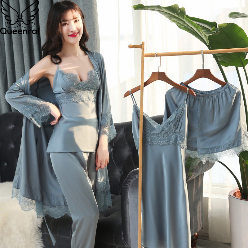 Queenral Silk Pyjamas Women 5 Pieces Sets Sexy Lace female Satin Pajama Summer Pijama Sexy Mujer sleepwear for Women Chest Pads