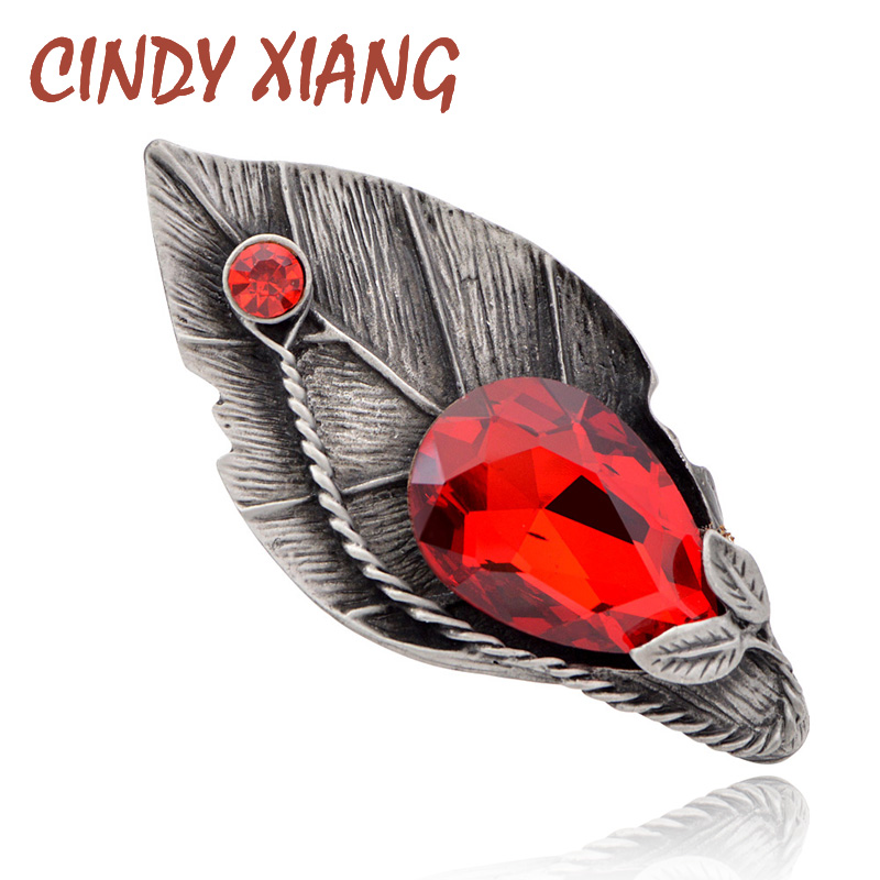 CINDY XIANG New Arrival Winter Style Big Crystal Leaf Brooches For Women Vintage Fashion Large Pins Coat Corsage High Quality