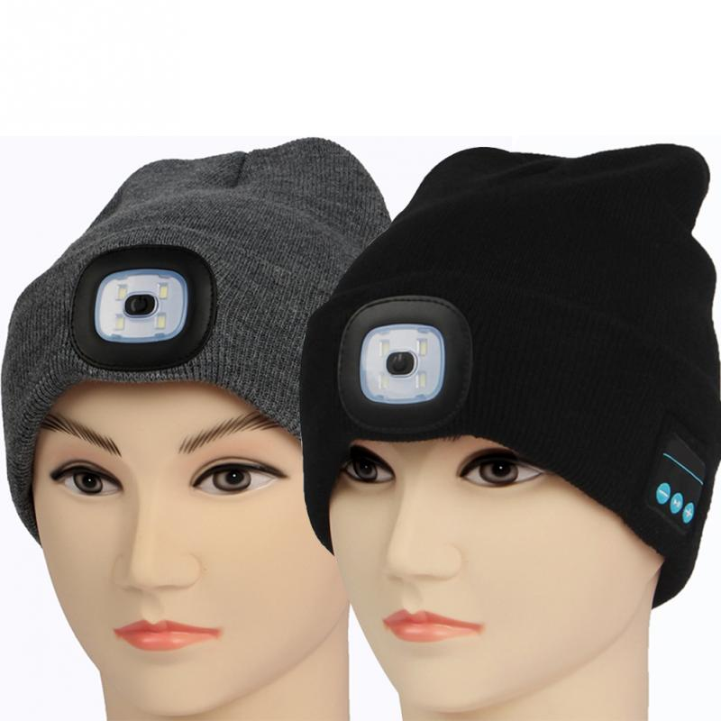 3eaf59ccd5b Fishing Wireless Speaker Winter LED Headlight Hands Free Beanie Hats  Bluetooth Knit Hat Outdoor Musical USB Rechargeable