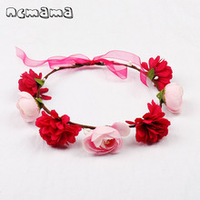 ncmama Hair Accessories Child Flower Garland Headband Girls Hairband Flower Wreath Bride Women Bezel for Hair Ribbon Headdress 2017 new 10pcs lot beach hair accessories kids flower headband bohemian style wreath garland girls birthday party hairband