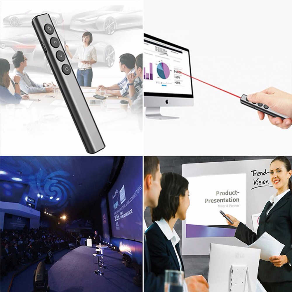 Wireless Presenter Pointer LED Pen Flashlight Professional Light USB Remote  Control Flip Pen Presentation For PPT Teaching