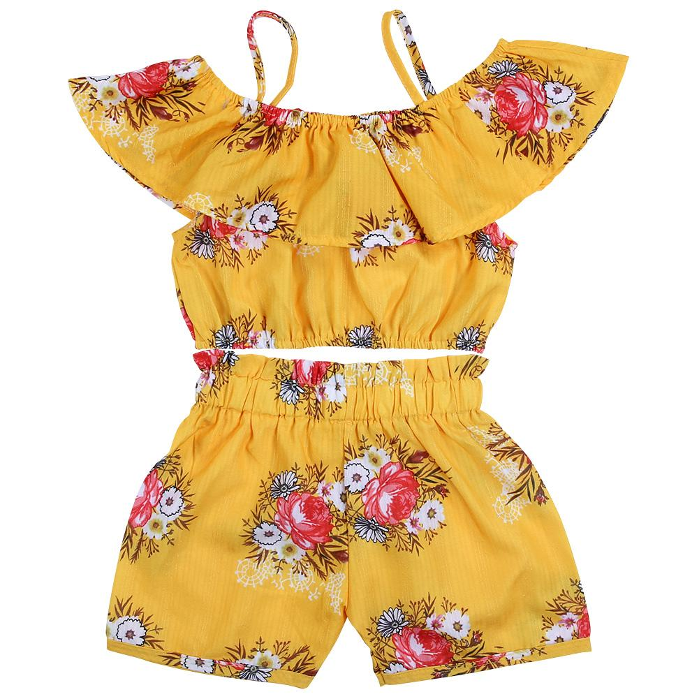 Kids 2Pcs Baby Floral Halter Ruffled Off Shoulder Top and Shorts Set Outfits