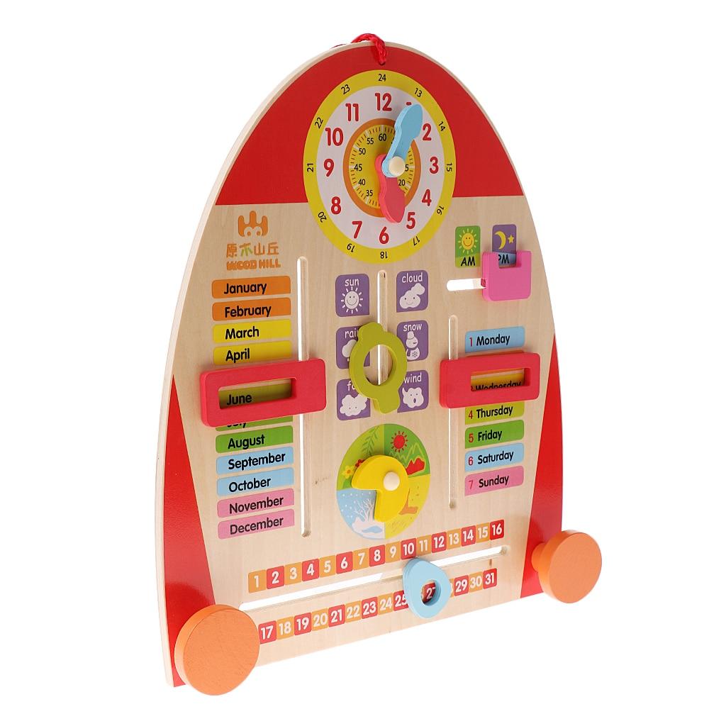 Cute Wooden Calendar Board Teaching Clock for Children Preschool Early Learning Education Toy Kindergarten Teaching Aid Decor