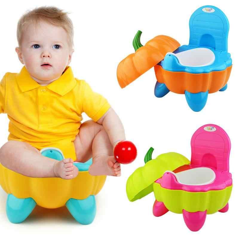 Baby Töpfchen Wc Schüssel Nette Kürbis Cartoon Ausbildung Pan Wc Sitz Kinder Bettpfanne Tragbare Urinal Komfortable Rückenlehne Topf