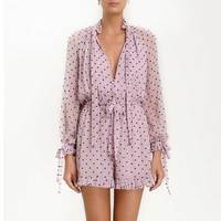 2019 Summer Women Pink Polka Dot Jumpsuit New Long Sleeve Sashes Wrap Buttons Rompers