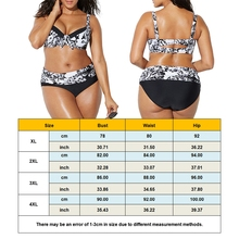 Plus Size Floral Print High Waist Split Bathing Suit