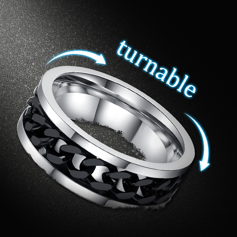 Vnox Chain-Ring Spinner Alliance Metal Men Punk Titanium Steel Black Finger-Jewelry Male