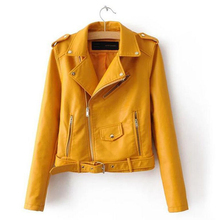 Autumn Women PU Leather Biker Jacket Coat Short Punk Motorcycle Plus Size