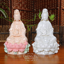Original 7 inch sitting goddess Dehua moved to the Buddhist ceramic crafts, ornaments