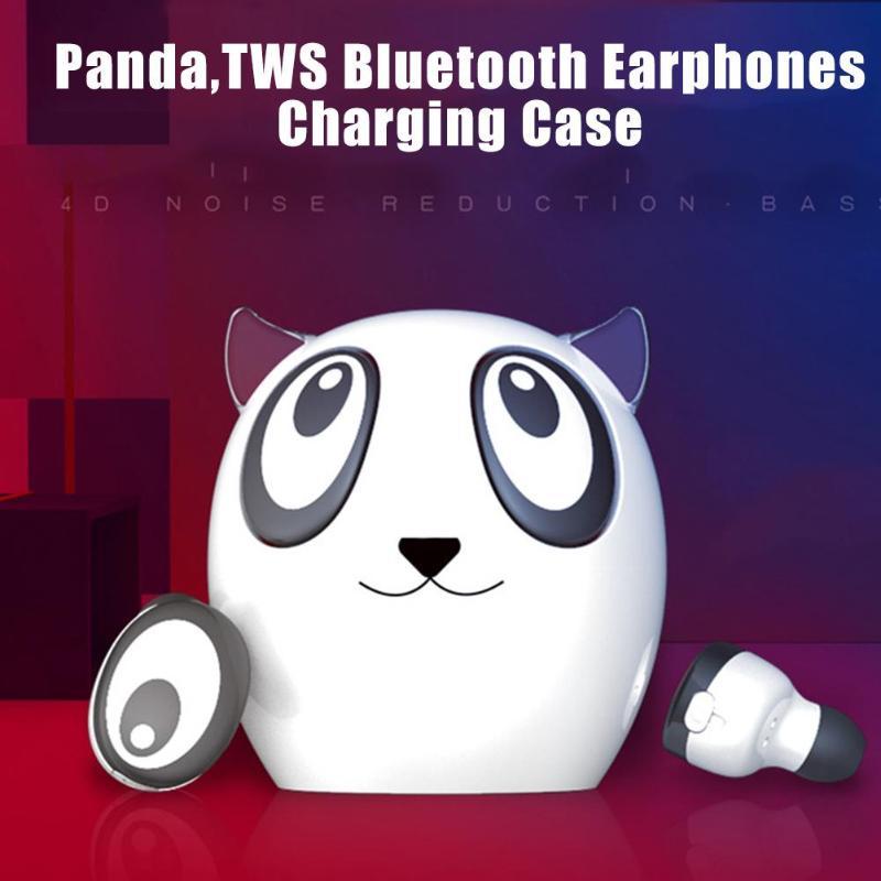 Cartoon Panda Mini TWS Bluetooth Earphones Wireless Earbuds Stereo Headset In ear Phone w/Charging Case Mic 2019 Drop shipping