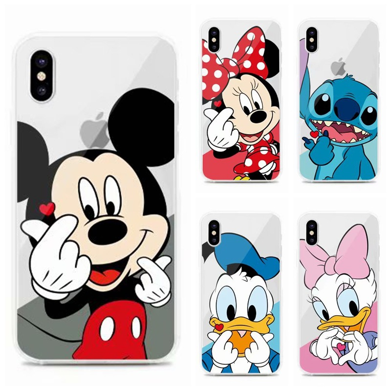 Cartoon cute case disneys Mickey Mouse Couple anime phone