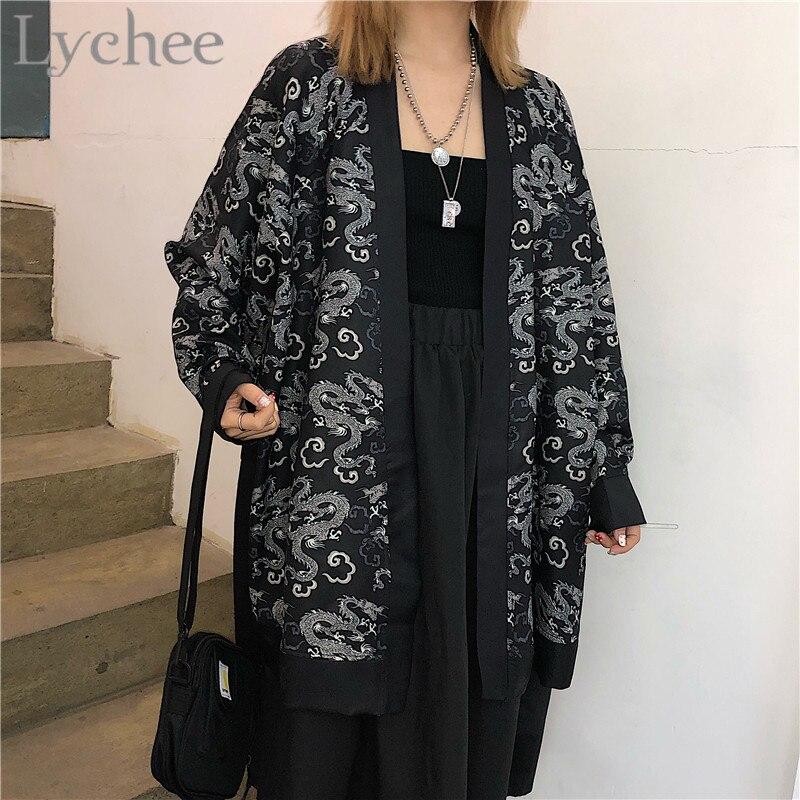 Lychee Harajuku Dragon Print Cardigan Female   Blouse     Shirts   Kimono Long Sleeve 2019 Summer Spring Loose Women Cardigan   Blouse