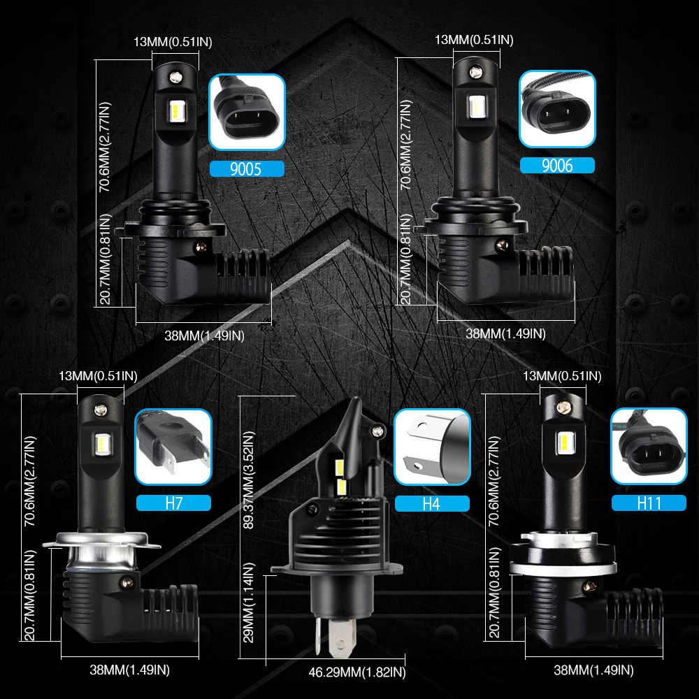 NOVSIGHT Car Led Headlight Bulbs H11 LED H4 H7 H8 9005/HB3 9006/HB4 50W/Pair 10000lm Led Automobile Headlamp 6500K cool White