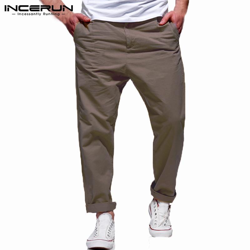 INCERUN Mens Casual Pants Cotton Pockets Button Solid Streetwear Loose Trousers Men Fashion Joggers Business Pants Men Hombre