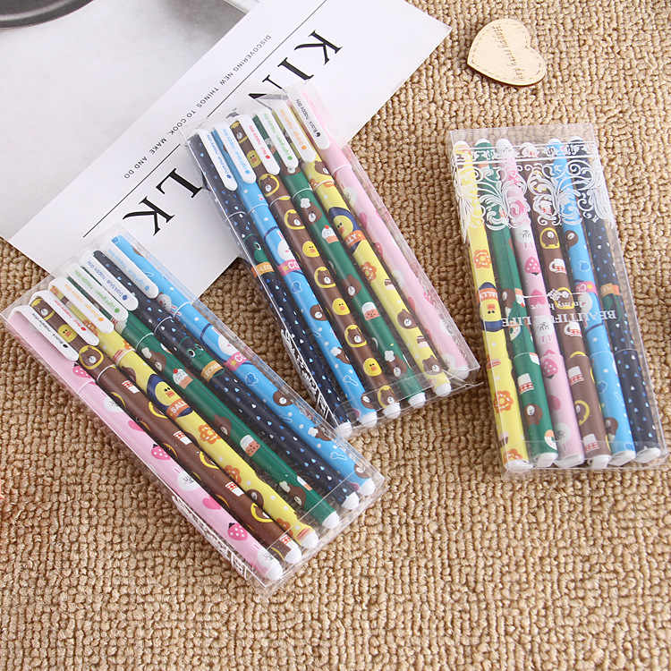 1 pcs Promotion Cute Cartoon Color Gel Pen Creative 6 Color Set Pen Students Writing Office Pen