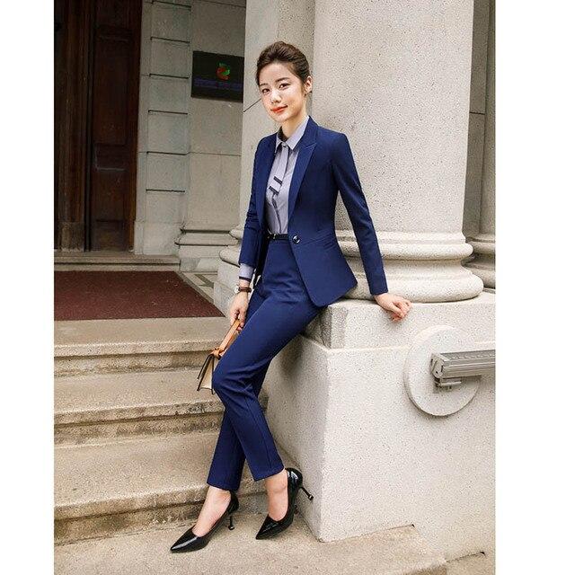 2020 Fashion Office Lady 2 Pieces Set Blazer +Elegant Skirt Or Pencil Pants Business Suit Formal Clothes Colors For Choose 2