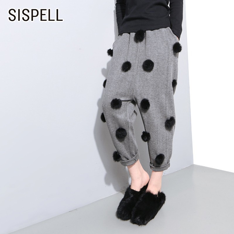 SISPELL Solid Ankle-length Pants For Women Elastic Waist Loose Fleece Casual Harem Pant Female Fashion New Tide 2019 Summer