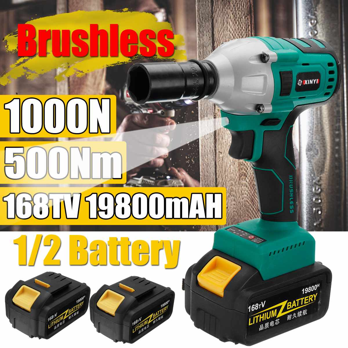 168V 500Nm Brushless Cordless Electric Wrench Impact Driver Power Tool 19800mAh Rechargeable Lithium Battery Household Drill168V 500Nm Brushless Cordless Electric Wrench Impact Driver Power Tool 19800mAh Rechargeable Lithium Battery Household Drill