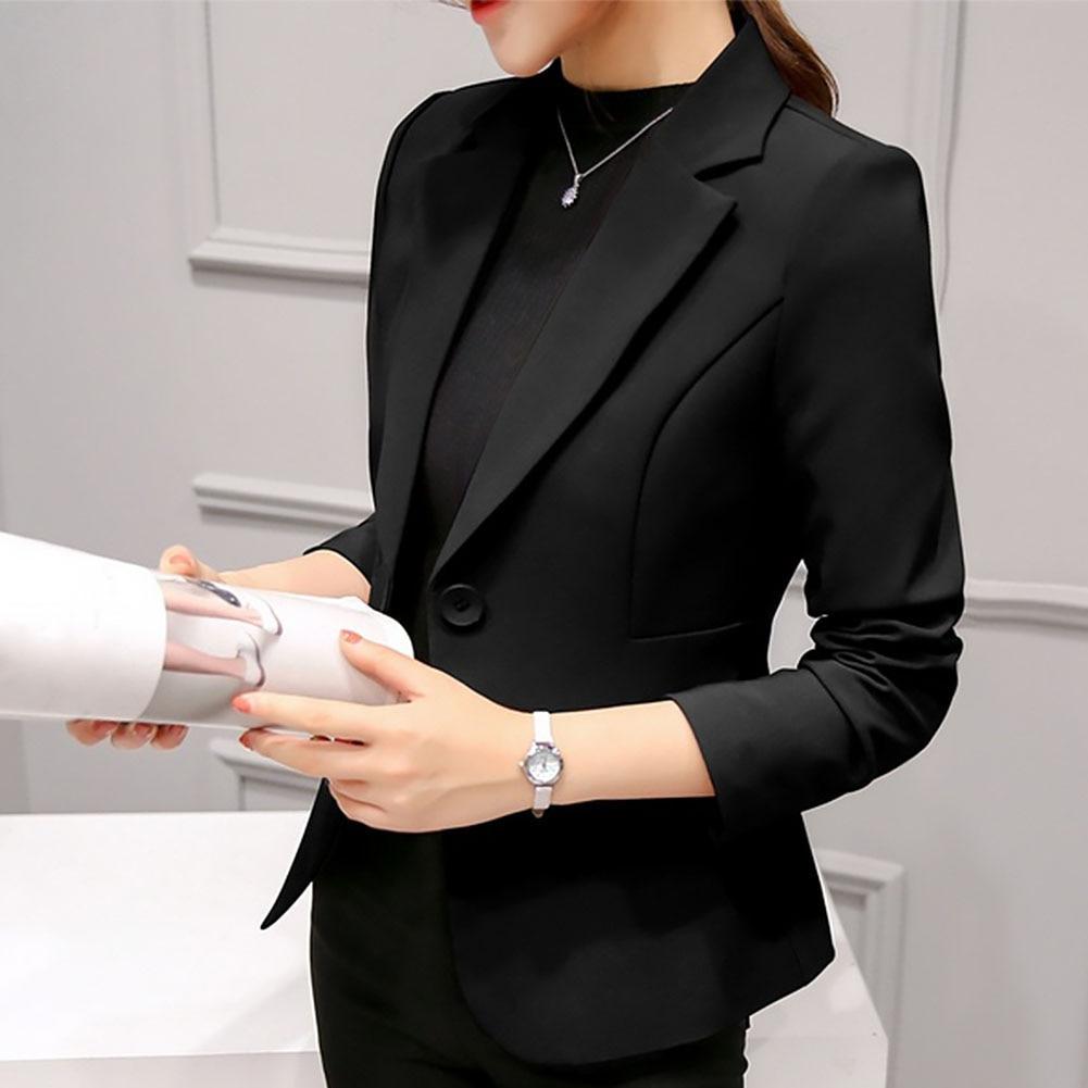 Women Blazer Casual Outwear Coat Long Sleeve Business Suit Fabala Office Slim Fit Ladies