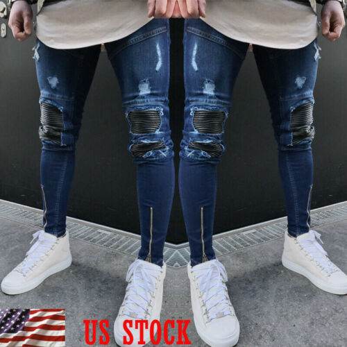 Men Stylish Ripped Jeans Pants Biker Skinny Slim Straight Denim Trousers Zipper