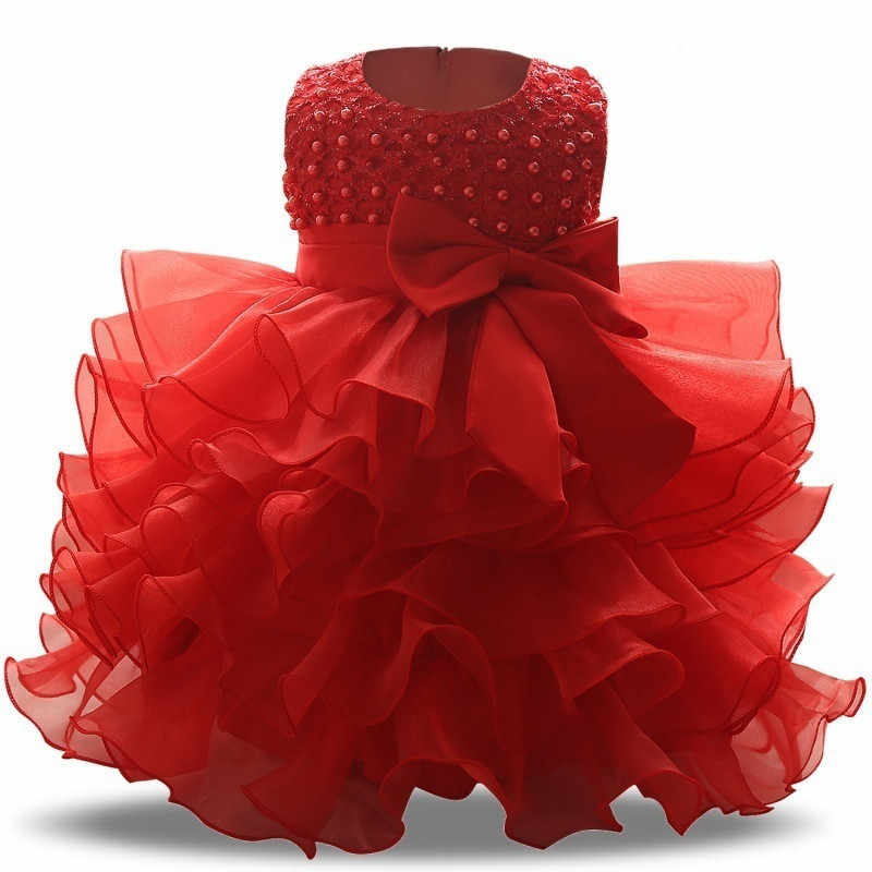 323dd7e7b Baby Girl Wedding Gown Dress For Girls Bebes Clothing 1 2 Year Toddler  Infant Party Dress
