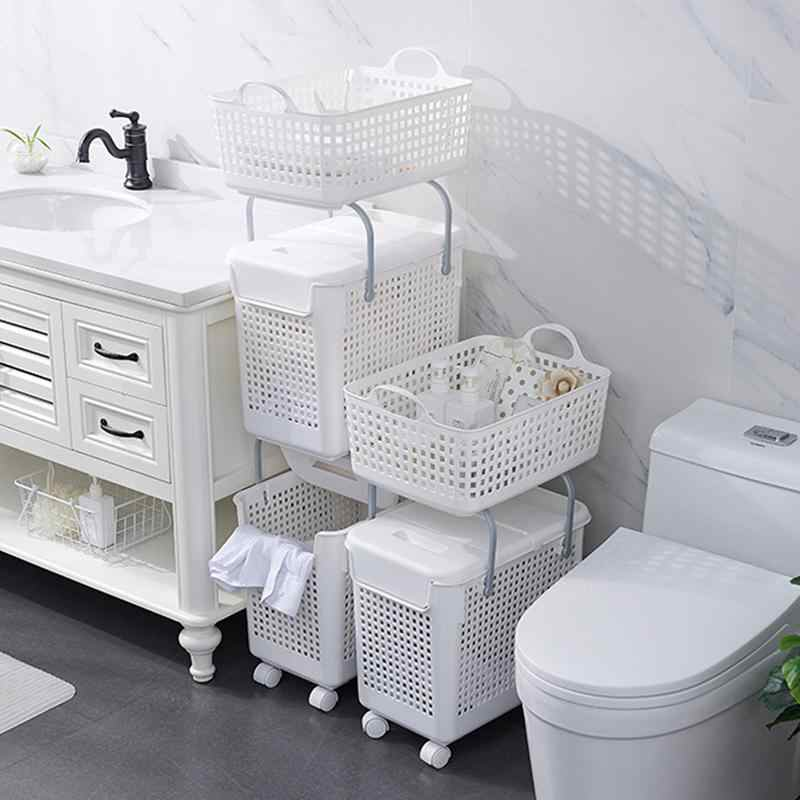 Laundry Basket Multifunctional Storage Basket Plastic Laundry Basket Bathroom Toilet Dirty Clothes Storage Basket with Lid