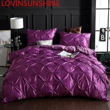 LOVINSUNSHINE Bettbezug set Luxus Uns König Größe Seide Bettbezug set Bettbezug Satin Königin Größe AC01 #