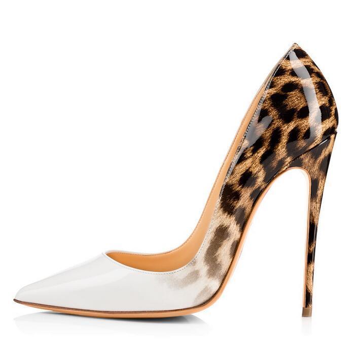 En Cuir Chaussures Léopard Talons Parti De 12 12cm Sexy Chaude Stiletto Mode Bout Dames Cm Des Super Verni 12cm Femmes Hauts Mariage Patchwork Pointu 5qwETA
