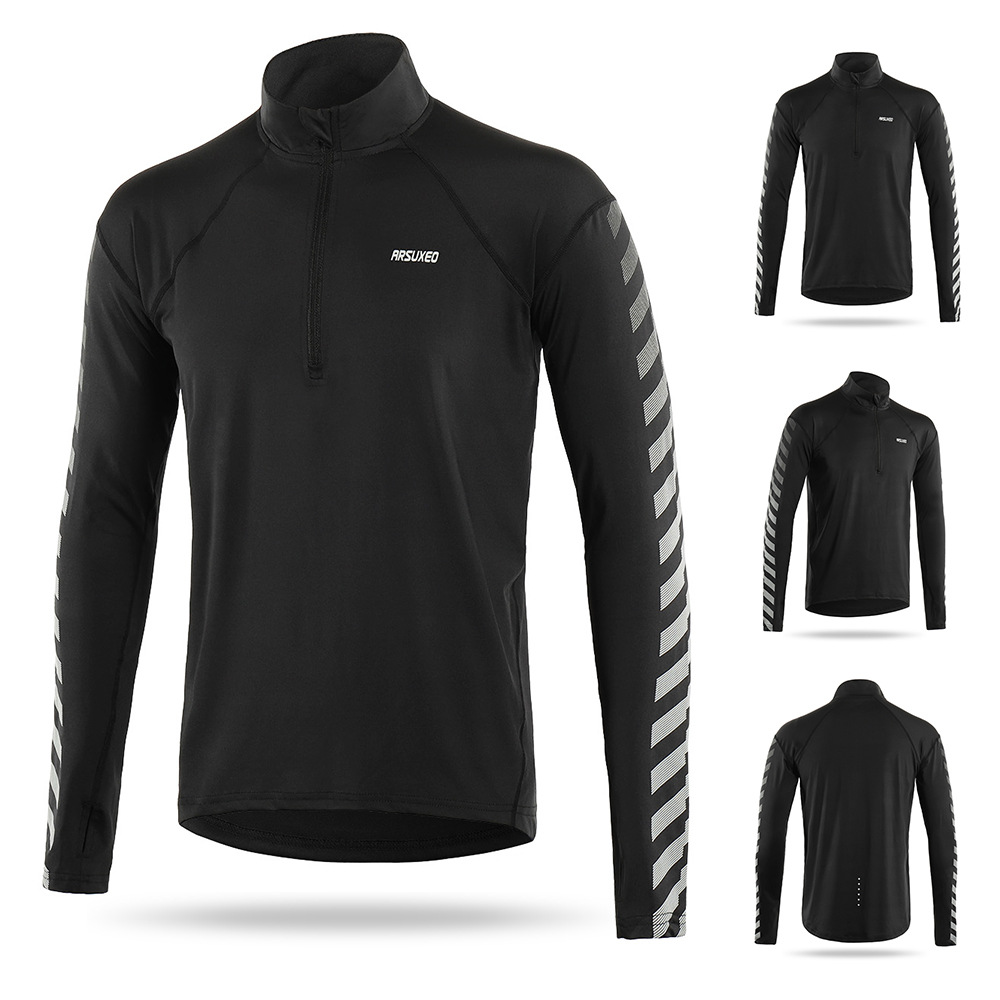 ARSUXEO Men/'s Running T Shirts Long Sleeves Quick Dry Training Jersey Clothing W