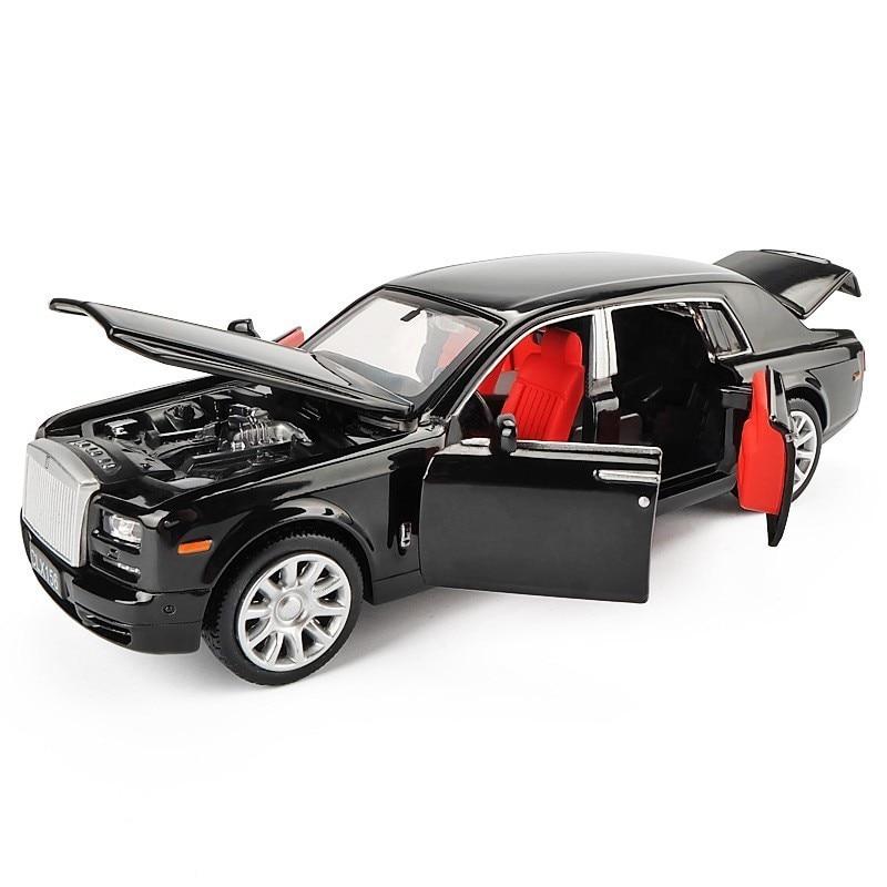 1/36 Rolls Royce Phantom Alloy Diecast Car Model Toys Metal Vehicle Toy Car Model Black Extended Limousine Collection 6 Doors
