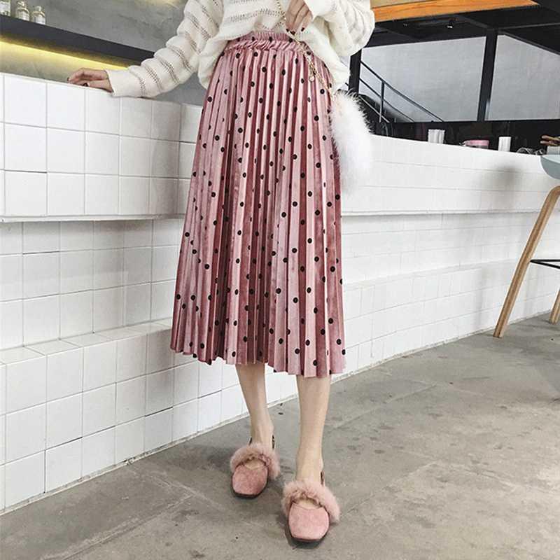 Зима Осень 2018 Женская юбка Милая эластичная талия бархатная в горошек с принтом