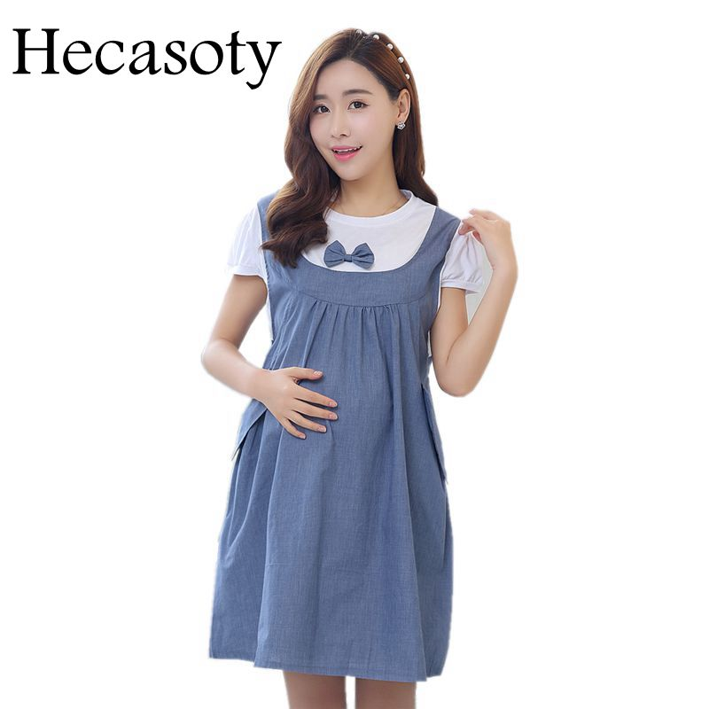 Maternity Clothes 2018 New Summer Bow Patchwork Loose Casual Dress Maternity Cloth Tops Pregnancy Clothes For Pregnant Women(China)
